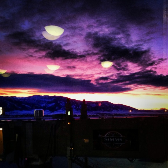 view from the airport bar in Bozeman, Montana after a particularly awesome snowboarding trip