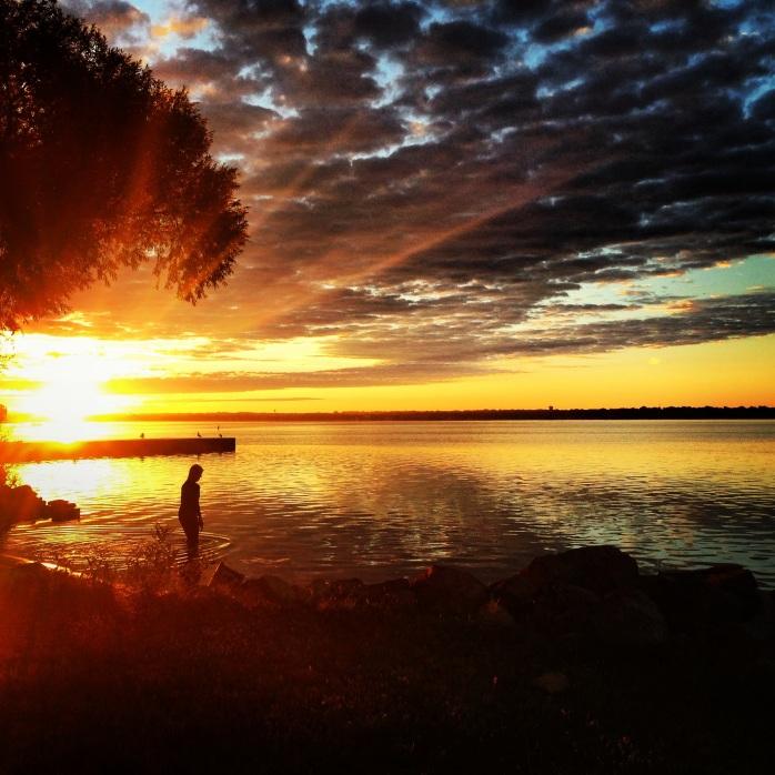 Solo swimmer. Lake Monona, Madison, WI