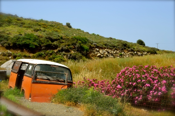 minivan, pre-stick figure people days. Naxos Island, Greece.