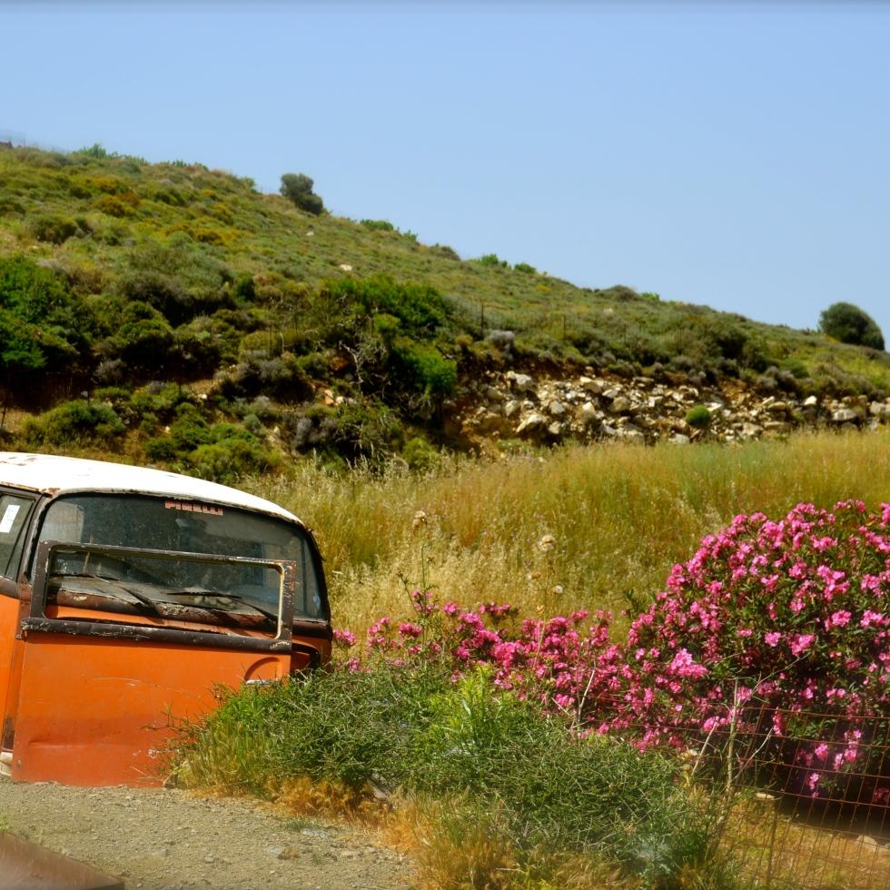 minivan, pre-stick figure people days. Naxos Island, Greece.
