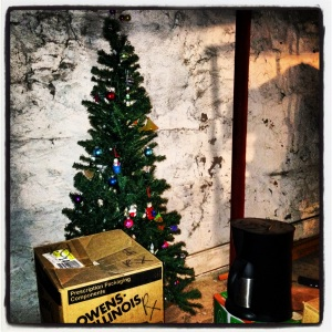 My basement tree. Maybe my holiday spirit is in that box.