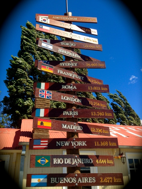 Oh, the places I'll go...when I am unemployed. Signs outside La Leona, en route to El Chaltén from El Calafate