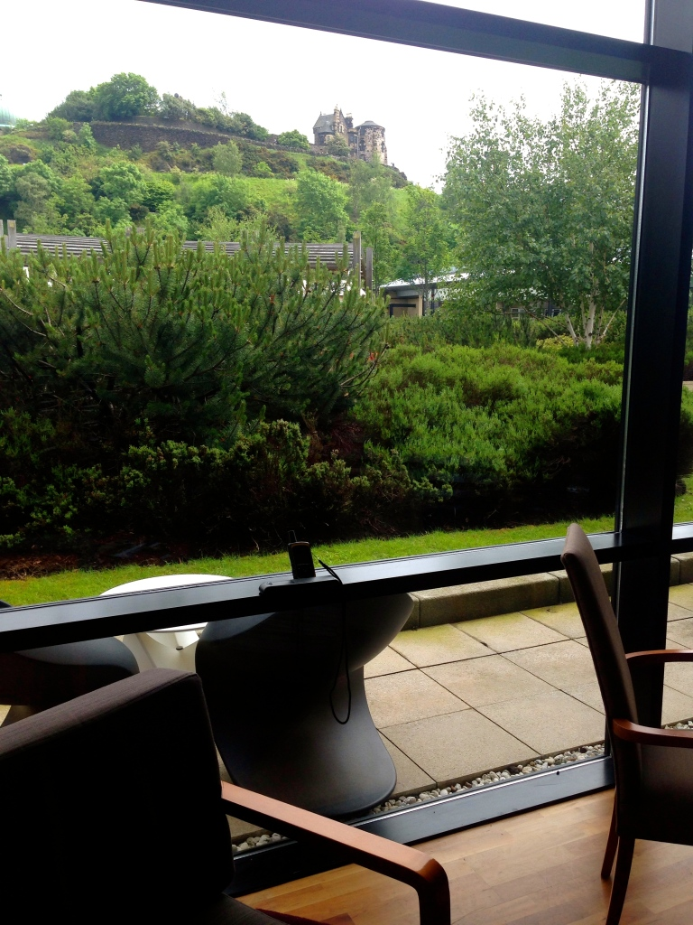 View of Calton Hill from the lounge area of my room at the Glasshouse. Fancy, I know.