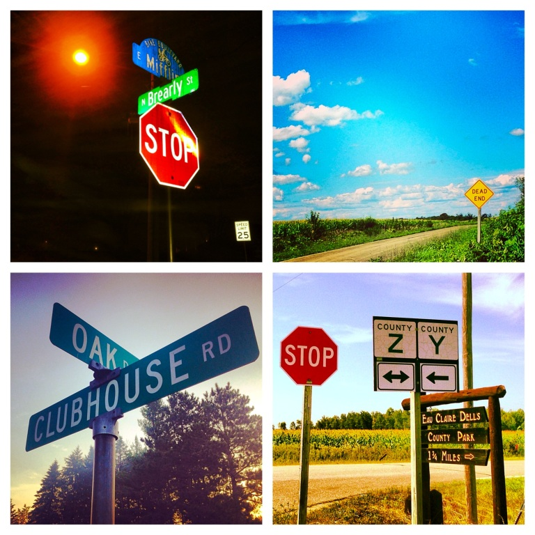 Stop Signs. Dead Ends. Streets. County Highways. Wisconsin.