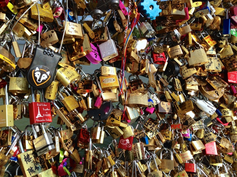 Locks of Love Bridge, which is collapsing from all the love. Wonder how many of these locks are still together in people form.
