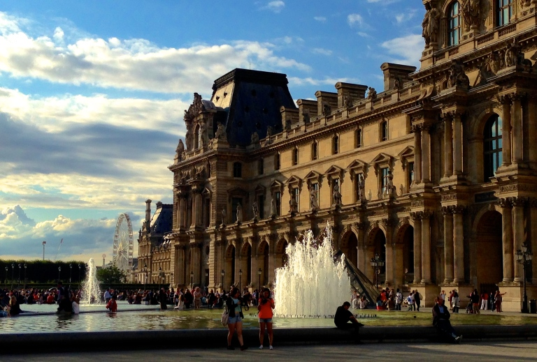 Square outside the Louvre. Paris.