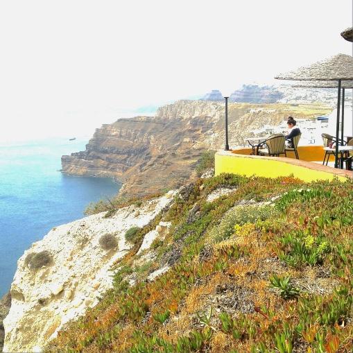 How I prefer to enjoy the beach. Santorini, Greece.