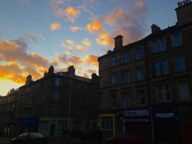 Sun coming up over Leith Walk
