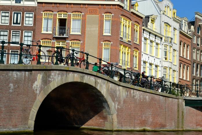 bicycles on bridge.