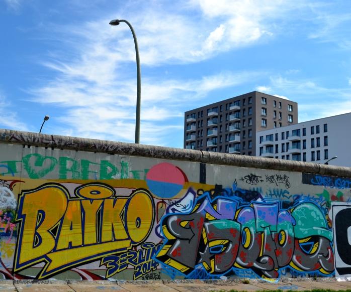 Graffiti side of the Berlin Wall, East Side Gallery.