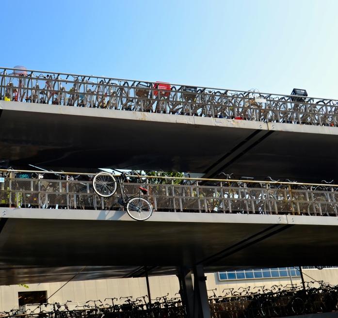 Bicycle hanging from bridge.