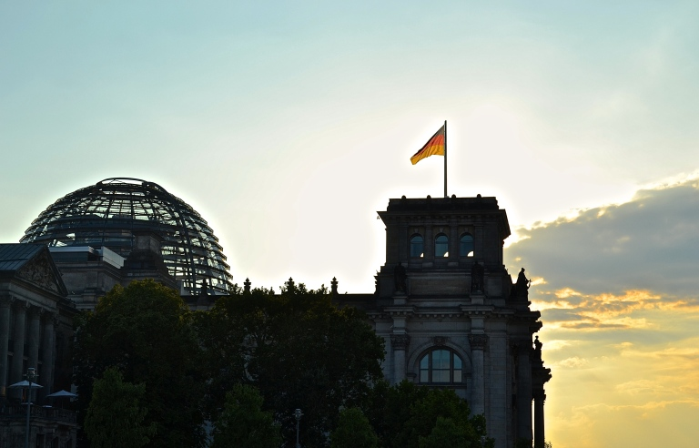 View of the Reichstag Building from the water.