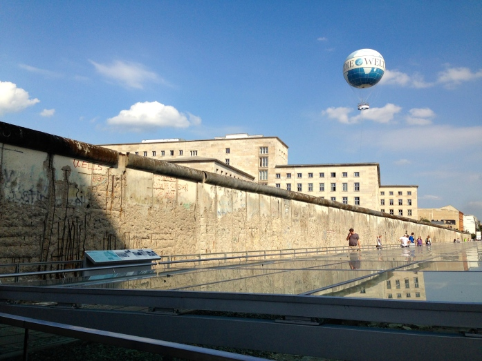 The outdoor Topographie des Terrors exhibit, next to a preserved portion of the Berlin Wall.