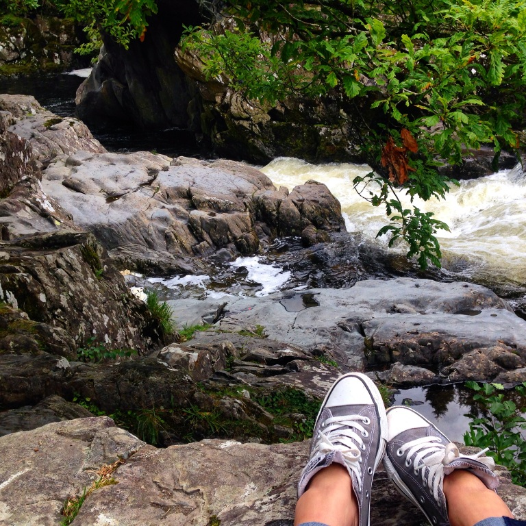Relaxing by a stream in Bewts-y-Coed, Wales, after climbing Mount Snowdon. Alone.