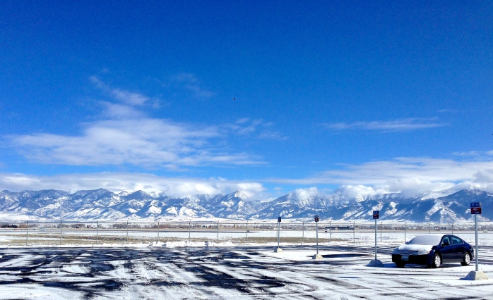 Airport parking lot, Bozeman, MT, headed to Big Sky