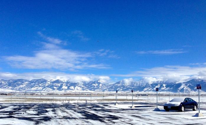 Airport parking lot, Bozeman, MT, headed to Big Sky