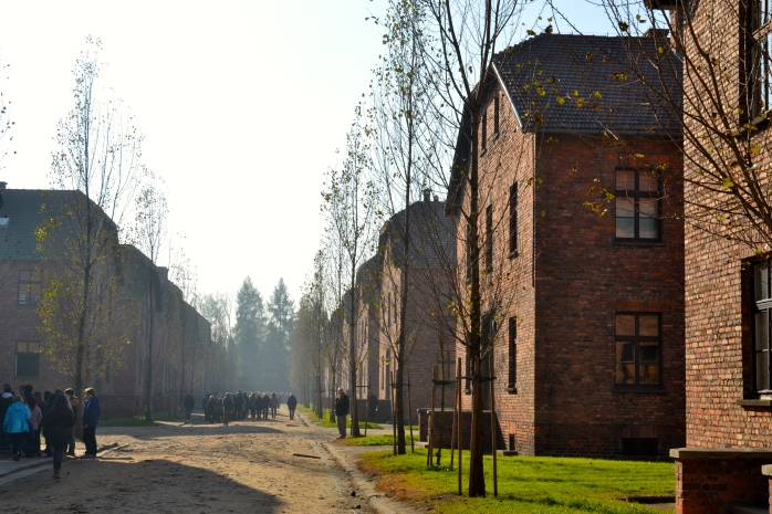 Tourist groups at Auschwitz I.