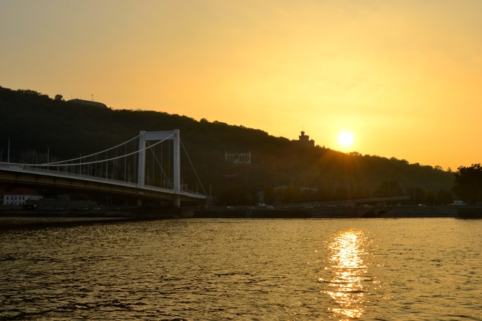 Sun setting over the Elisabeth Bridge, Budapest