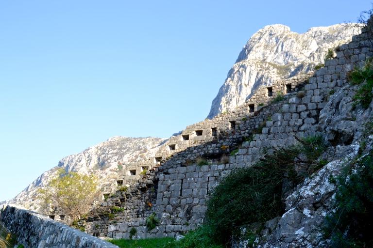 Climbing the castle walls, Budva, Montenegro