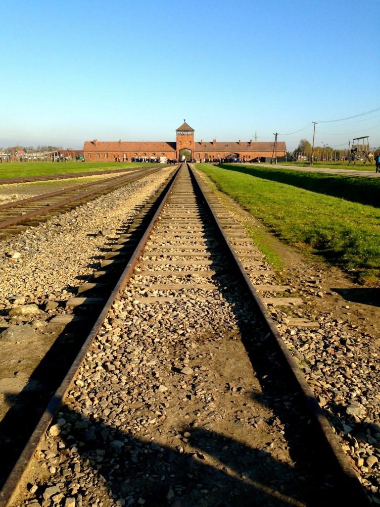 Train tracks leading into Auschwitz-Birkenau.