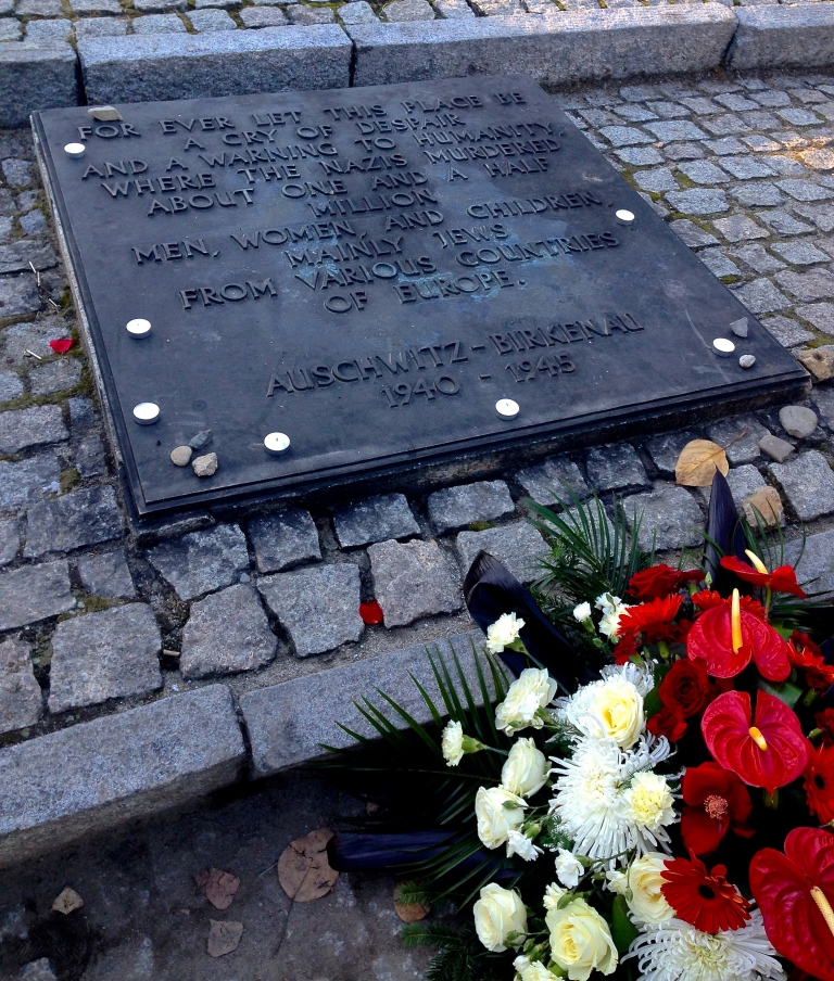 This plaque is translated into 19 languages, which lay side-by-side at Auschwitz-Birknau.