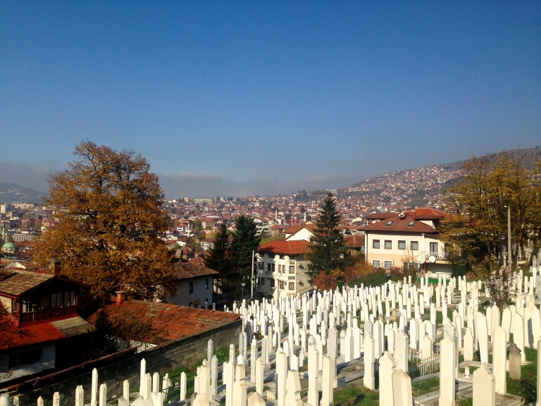 Tall white marble obelisks mark the Bosniak Muslim dead