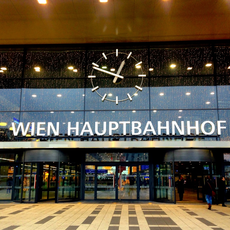 Vienna Train Station, where I bought my ticket to Prague, last leg of See the Word 2014