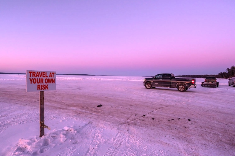 Ice road from Bayfield to Madeline Island, WI. Photo cred: my dad