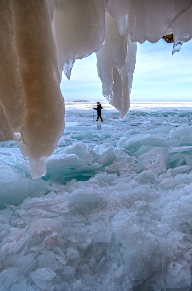 Me walking on Lake Superior...what I imagine hiking the trail will be like, only without snow and ice and totally different. Photo Cred: my dad