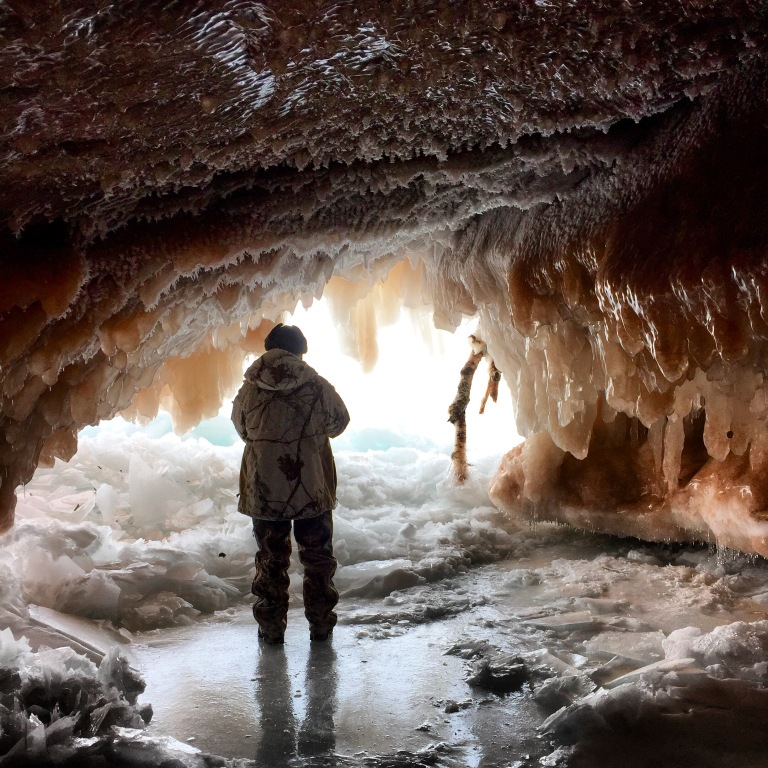 Exploring the ice caves with my dad during my last days of unemployment, Apostle Islands, Wisconsin