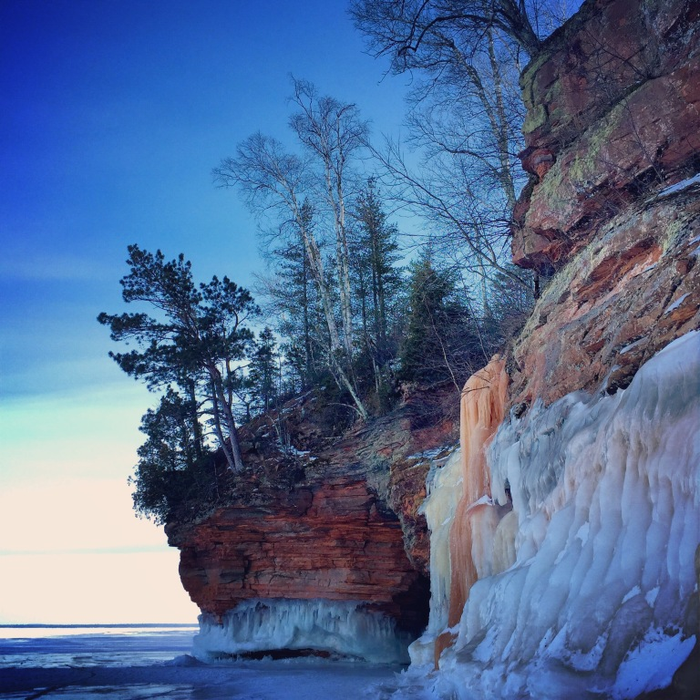 Ice cave exploration in Wisconsin