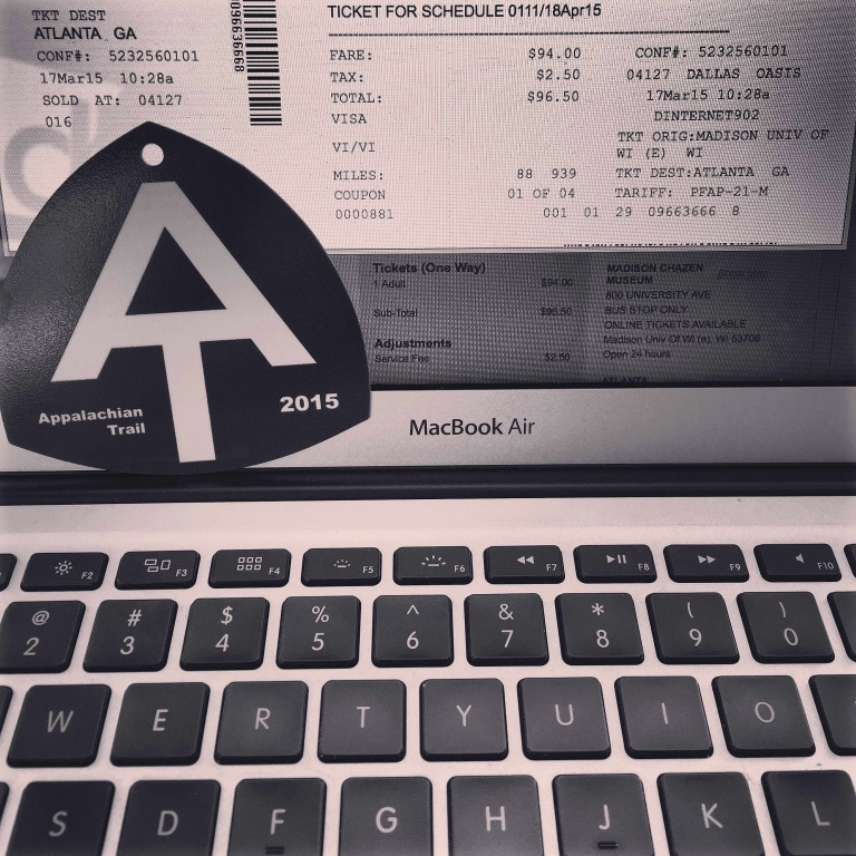 As official as it's gonna get: AT 2015 thru-hike registration and a bus ticket to Atlanta.